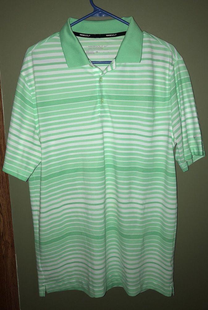 a0df85e4 Nike Golf Tour Performance Key Bold Stripe Green Polo Shirt Men's Size  Large | eBay
