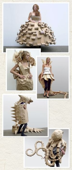 This is a very cool example of artwork created using cardboard on a large scale. The creator of these outfits used simple brown box cardboard to design and make five different wearable designs. The first three designs look like every day dresses that someone could wear. For these, the artist used cardboard curling and shape cutting techniques to make small and large details. The last two designs are more costume like and are very detailed.