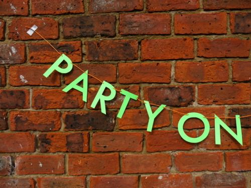 Close up of our PARTY ON DUDES! letter banner.  Most excellent 🤙    Luxury handmade paper party decorations by Paper Street Dolls  Check out our store - paperstreetdolls.etsy.com
