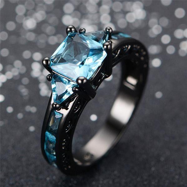 Aquamarine Gemstone Ring - 10kt Black Gold Plated