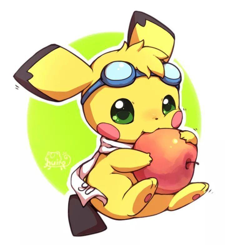 Pichu! | Cute pichu eating an apple | Baby pikachu | pokemon fan art | yellow