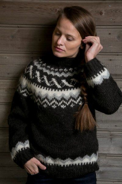 Icelandic sweater for me - Traditional Sheep Black Pullover