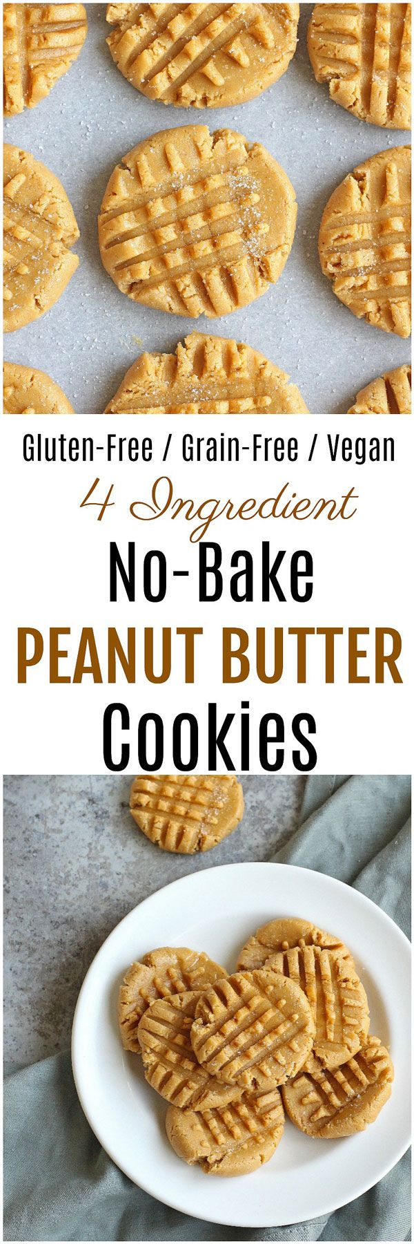 Vegan No Bake Peanut Butter Cookies - Craving a peanut butter cookie but don't want to turn on the oven? These Vegan No-Bake Peanut Butter Cookies are the answer! Grain-free, gluten-free, dairy-free and vegan, these cookies require just four simple ingredients.