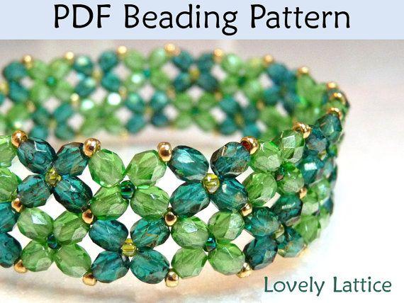 Beading Instructions, Flower Bracelet Beading Pattern, Tutorial, Directions, St Patricks Day, Shamrock, Four Leaf Clover, Spring via Etsy