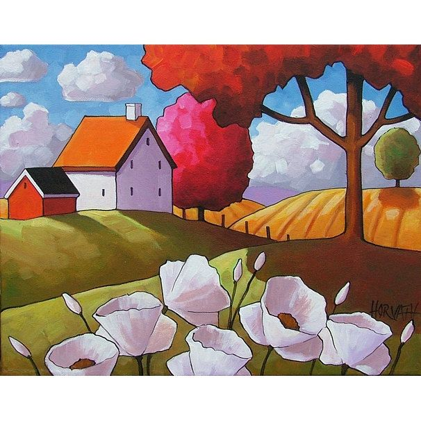 PAINTING ORIGINAL Folk Art White Flower Blooms Farm Field Tree Color Abstract Modern Landscape Country Cottage Art C. Horvath Buchanan 11x14. $169.00, via Etsy.