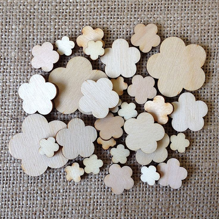 Wooden Flower Shapes, 5 Petal Design in Mixed Sizes by Artcuts on Etsy