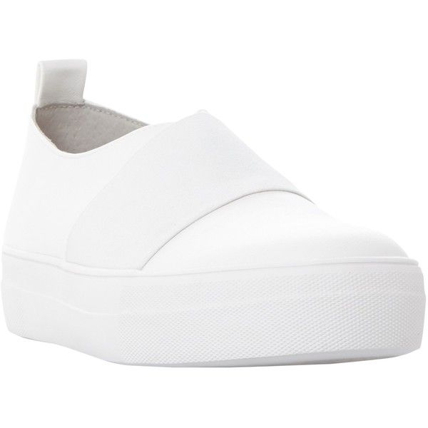 Steve Madden Glenn Slip On Trainers ($34) ❤ liked on Polyvore featuring shoes, sneakers, white, slip-on shoes, white canvas sneakers, steve madden sneakers, white slip on shoes and flatform sneakers