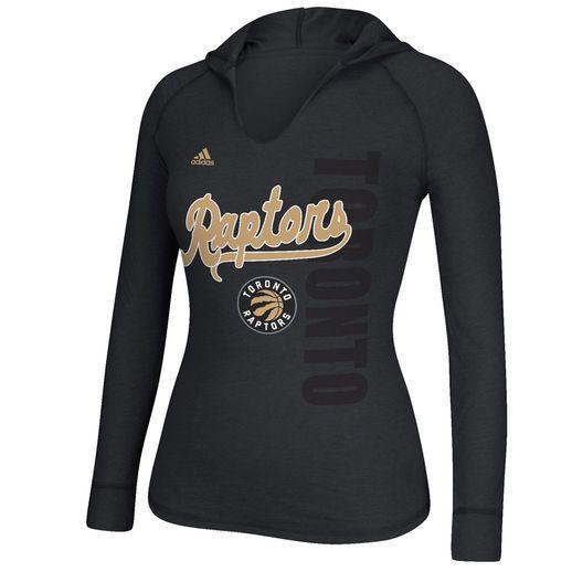 adidas Toronto Raptors Women's Black Outline Script Long Sleeve Hooded T-Shirt