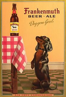 beer ad with dachshund
