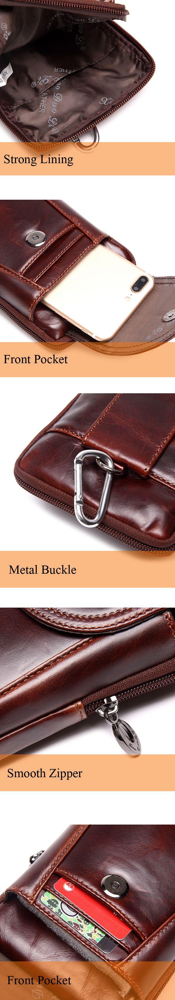 Men Genuine Leather Waist Bag Business Crossbody Bag Cellphone Bag