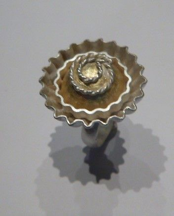 Felicity Peters Ring corrugated cupcake stg silver 24ct gold $450
