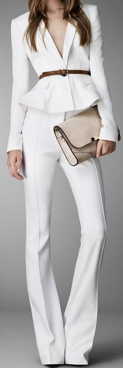 Burberry white suit. I'd wear with a snug white tee or shell, for a more conservative look.