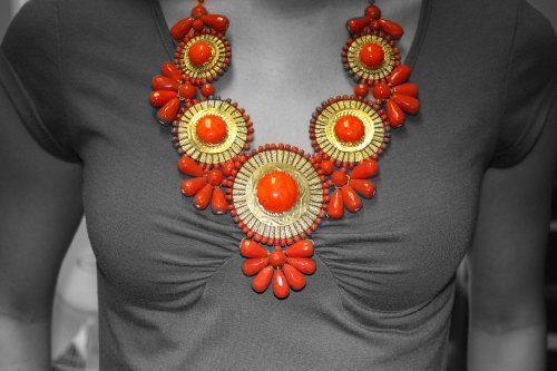 "ZAD Beautiful XX-Large Gold Metal Orange Glass Bead Medallion Bib Necklace ZAD by Ks Charming Designs. $40.00. Statement necklace measures 24"" long with 2"" of additional adjusting links.. Beautiful Unique BIB Necklace! Make a Statement!. 3 3/4"" turquoise glass bead gold metal wire wrapped medal. Comes in Gift Packaging BY KS CHARMING DESIGNS!. Features antiqued gold metal snake chain"