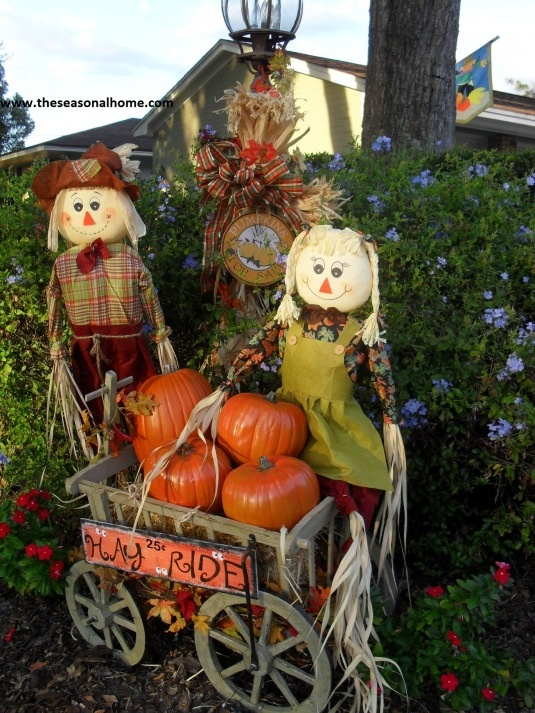 Easy Outdoor Halloween Decorations. See More. Halloween Front Yard_couple  Cart Leaves 5