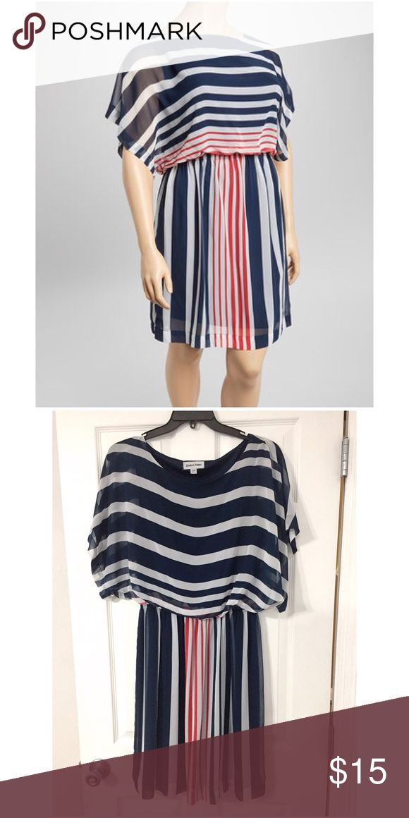 Shelby & Parker Striped Navy Scoop Neck Dress Shelby & Parker Striped Navy Scoop Neck Dress. Like New Condition, size 14W. 📦 Bundle with another item for a 15% discount! Shelby & Parker Dresses Midi