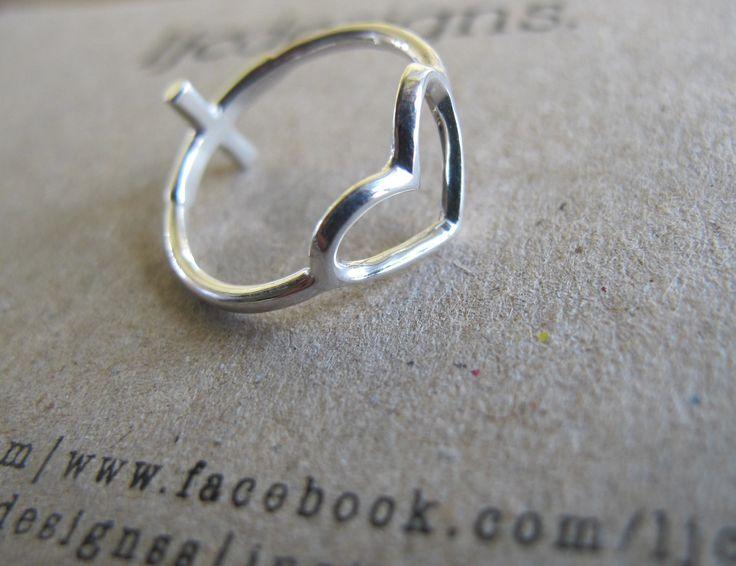 Heart Ring, Sideways Cross Ring, Reversible Sterling Silver Ring. LOVE