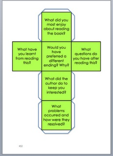 before, during and after questions for reading on an easy to make dice!