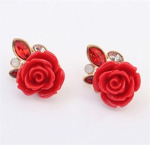 Women-Jewelry-Fashion-Red-Resin-Crystal-Rose-Cute-Flower-Earring-Ear-Stud