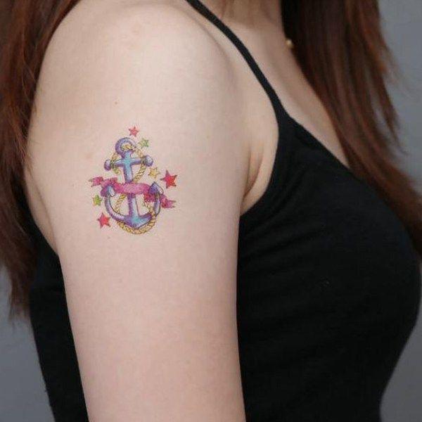 20 Cute Girls Anchor Tattoo Designs