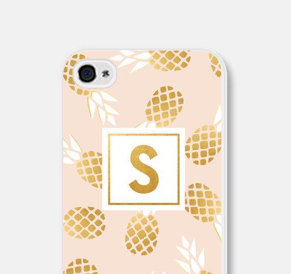 Mom Gift iPhone 6 Case Pineapple iPhone 6s Case Metallic Phone Case Samsung Galaxy S6 Case Monogram Phone Case Pineapple iPhone 5s Case