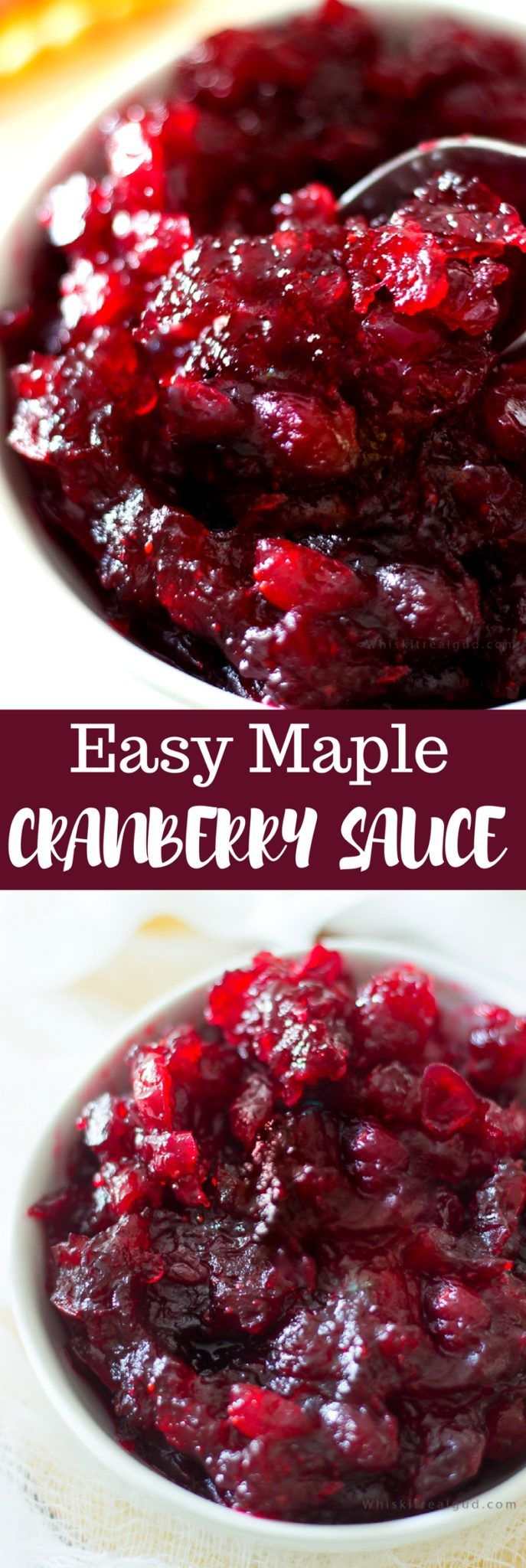 Maple Cranberry Sauce with fresh cranberries are sweetened with pure maple syrup, orange juice, white sugar with a hint of vanilla, and a pinch of salt and pepper. Simmering the cranberries for 10-15 minutes result in a nice, thick, deep dark and flavorful cranberry sauce. I grew up eating canned cranberry sauce a lot, especially...