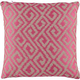 Medium Pink & Grey Patterned Feather Cushion