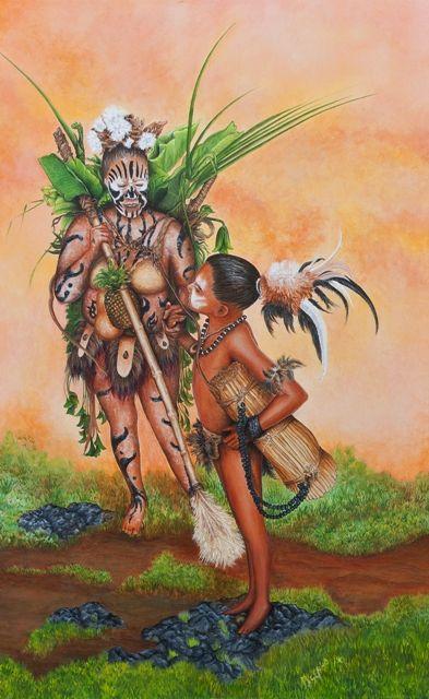 Paschuan en el arte. Isla de Pascua. Rapa Nui.