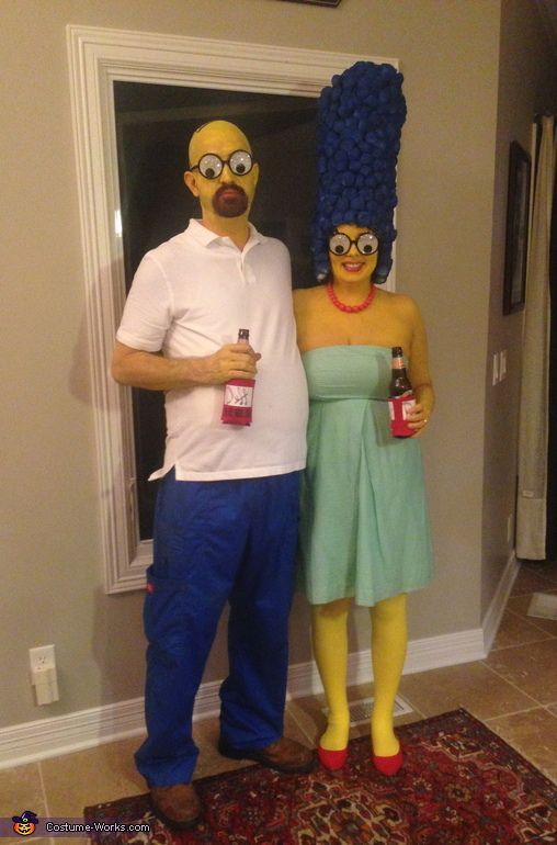 Katie: My husband & I made our own Marge & Homer costumes. Marge Hair: Used rolled up poster board, cotton balls, a glue gun, and blue spray paint Face & Arms:... #coupleshalloweencostumes