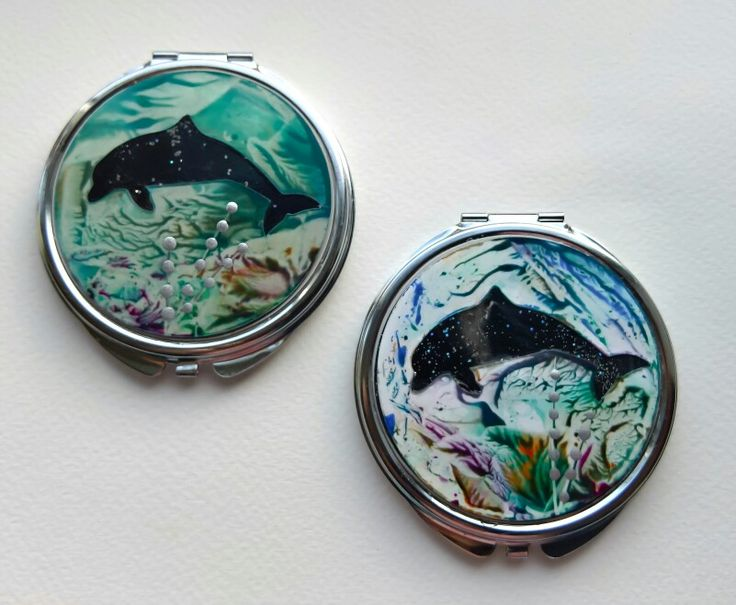 Encaustic wax painted mirror compacts by Moo Doodle https://www.facebook.com/moodoodle15