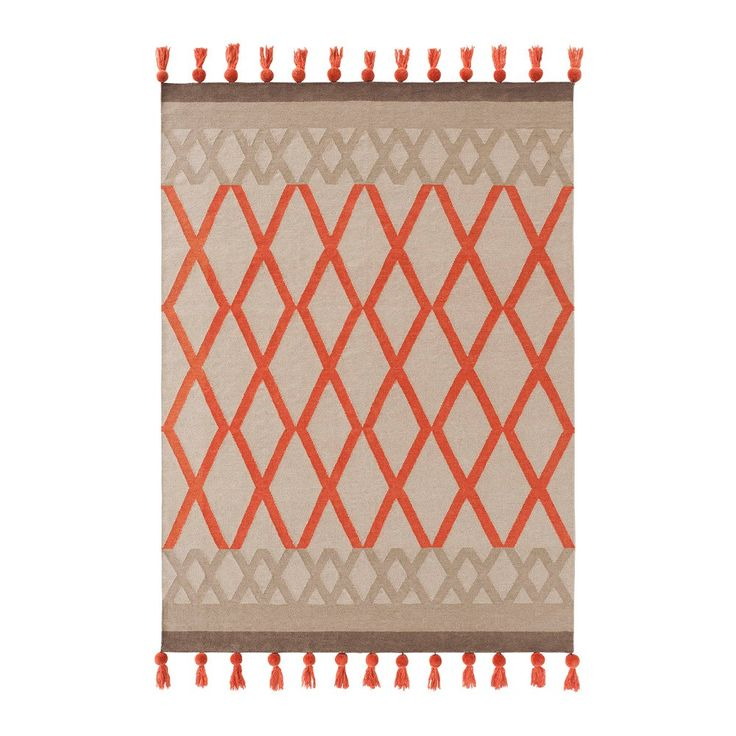 Burnt orange rug Gandia Blasco Kilim Sioux Coral Rug: Roll out this luxury wool rug with lattice pattern in coral orange to add warmth to your room,