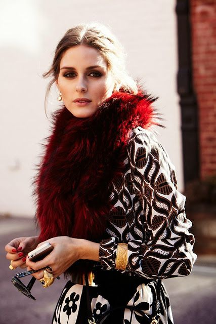 Love the combination of the burgundy fur with the black and white print. Great way to have pattern and texture in your wardrobe.