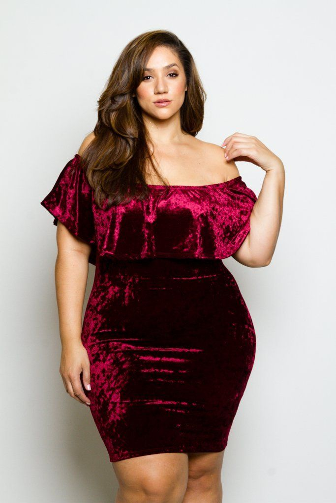 38411cf61d9b Plus Size Soft Velvet Sexy Off-Shoulder Glam Ruffle Dress