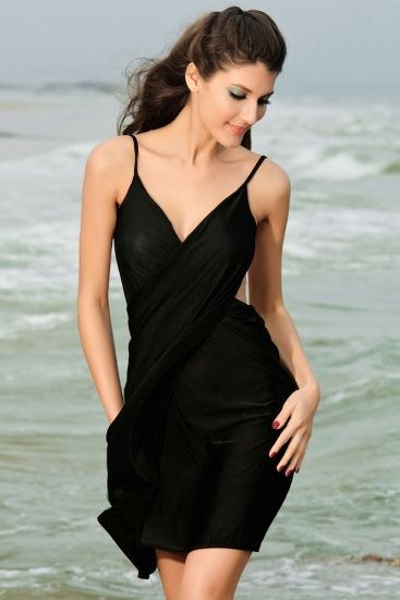 Sexy stylish cross front beach cover-up black - omdear.com