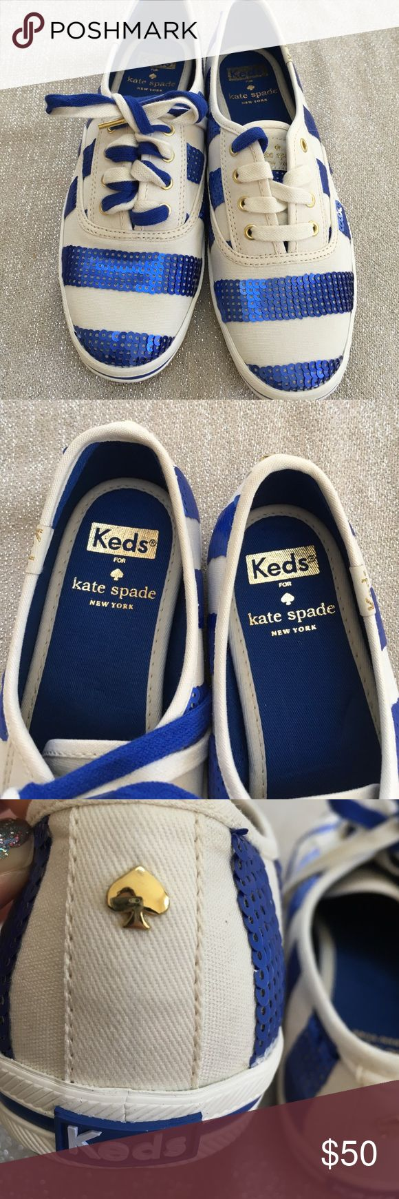 Keds for kate spade size 6 Keds for kate spade size 6.  New without box. Never worn. Cream color sneaker adorned with blue sequins.   These are awesome sneakers. Comes with two sets of laces a blue and a cream color. I laced one with both to show versatility.  Make an offer!!! kate spade Shoes Sneakers