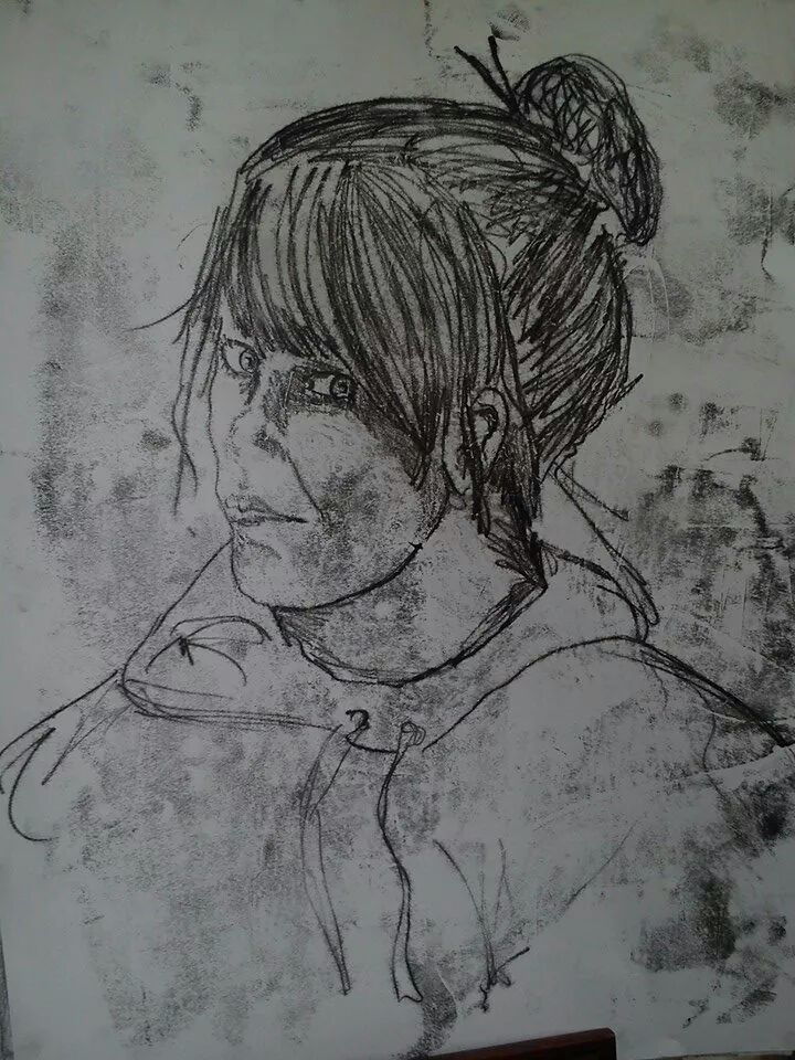 A self portrait in monoprint I done last year in my plc abbeyleix fec . This piece ended up in the class end of year exhibition .