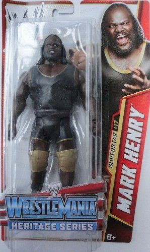 """WWE Mark Henry Wrestle Mania Heritage Figure - Series #26 by Mattel. $14.75. Collect all your favorites WWE Superstars. WWE WrestleMania 22 inspired Series #26 action figure in 7"""" Superstar Scale. Features extreme articulation, amazing accuracy and authentic details. Kids can recreate their favorite WWE matches. Bring home the officially licensed WWE action. From the Manufacturer                World Wrestling Entertainment Superstar Figure Collection: Bring home the ac..."""