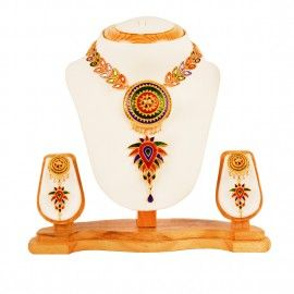 Traditional Assamese Jewellery Designs-  Japi Jethi Pota with Dhan Sira Necklace and ear rings