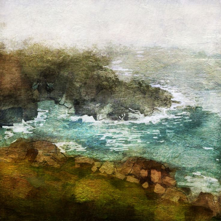 Michèle Brown Artist - The Old Cells Studio: Low clouds from Pendeen Lighthouse - iPad painting