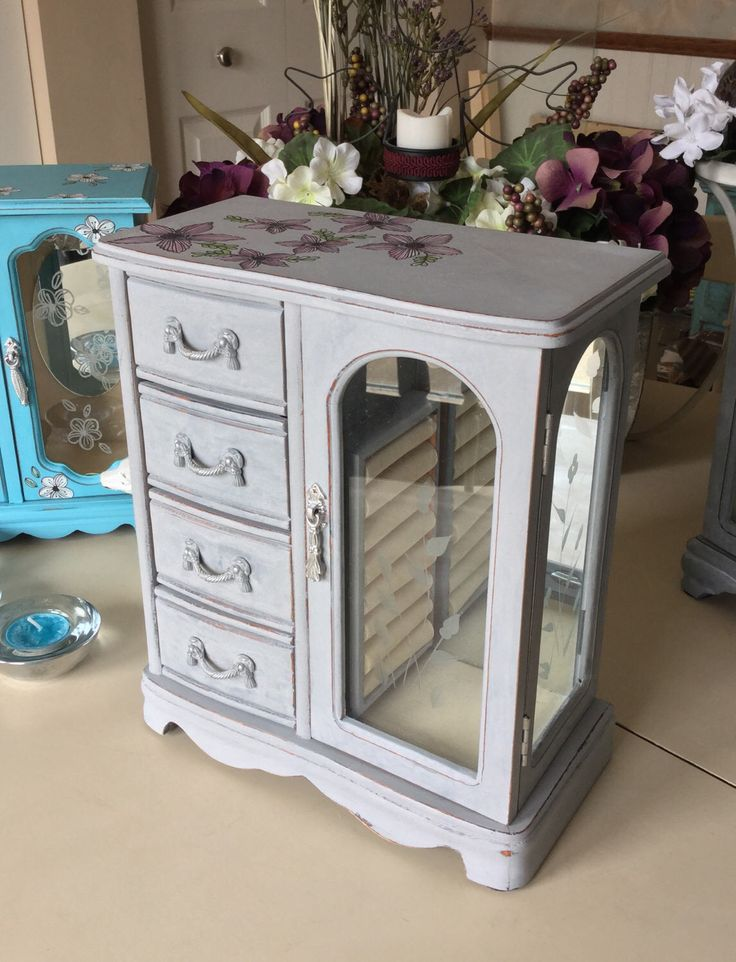 Wooden Vintage Jewelry Box / Painted OOAK Designer Jewelry Box / Upcycled Shabby Chic Jewelry Armoire by ByeByBirdieDesigns on Etsy https://www.etsy.com/listing/507183108/wooden-vintage-jewelry-box-painted-ooak