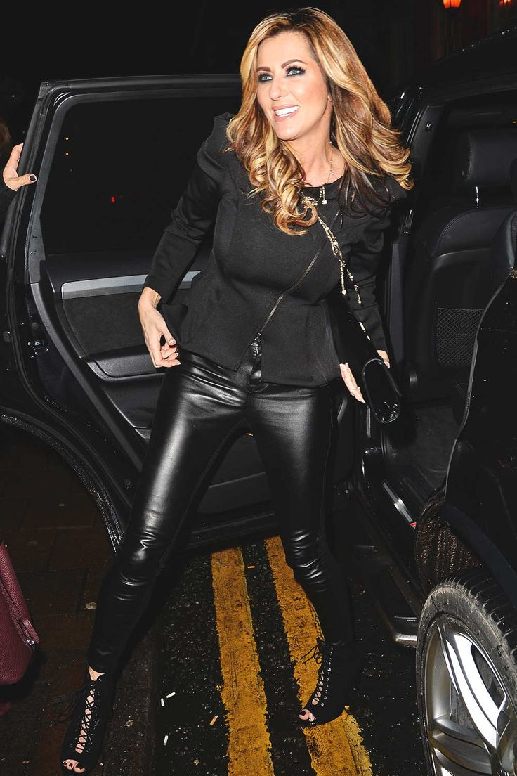 Dawn Ward arrives at Bronx bar launch party Knutsford #leatherpants #leatherskinnypants