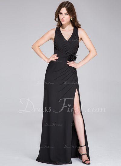 Платье-чехол V-образный Длина до пола шифон Платье Для Выпускного Вечера с Рябь Бисер Цветы Разрез спереди