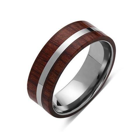 Koa Wood Wedding Ring - Silver Tungsten Band - Hawaiian Koa Wood - 8mm - Mens - Comfort Fit - LUXURY BANDS LA