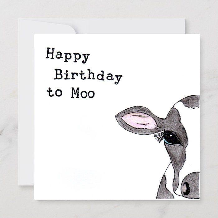 Individually Hand Drawn Cow Birthday Card Cute Cow Card Dairy Farmer Birthday Card Cow Lover Card Cow Pun Card Cow Birthday Card Birthday Card Drawing Birthday Card Puns Cow Birthday