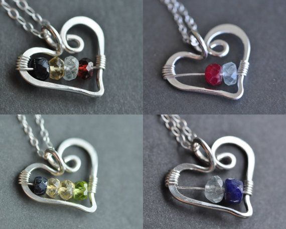 custom mothers family birthstone necklace From the by muyinmolly, $47.00