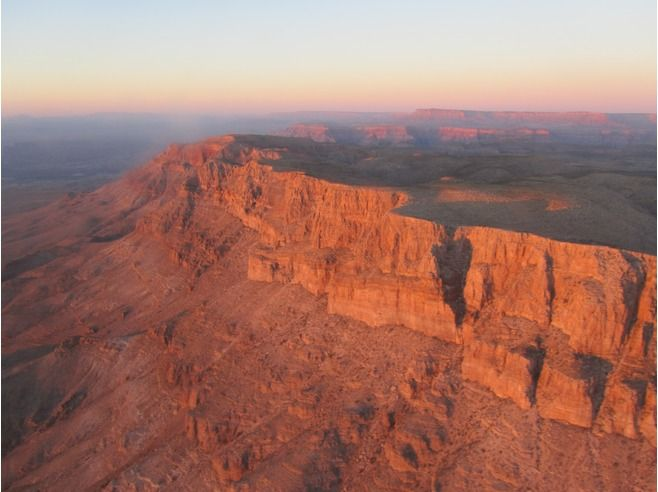 The sun setting over the grand Canyon
