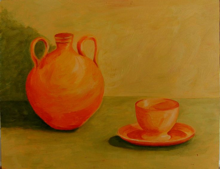 JARRA Y TAZA (1997) By Maite Rodriguez OIL ON WOODEN BOARD 30 X 23  Price 50.00 Euros