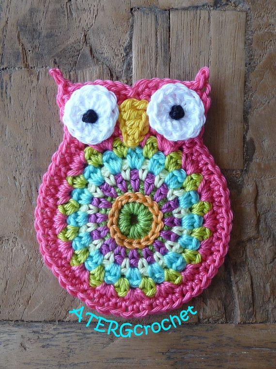 Crochet owl application 'kamelie' by ATERGcrochet on Etsy, €3.00