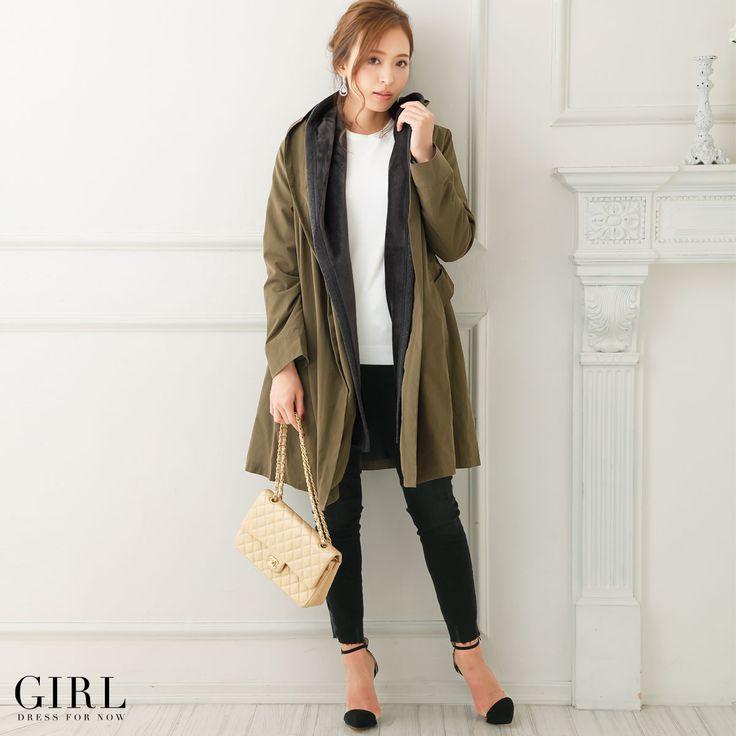 GIRL リボン付きモッズコート ●価格 15,984円(税込)●サイズ:M/L ●カラー:ベージュ/カーキ/ネイビー