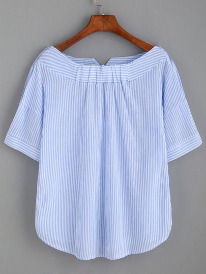 Size Available:S,M,L Fabric:Fabric has no stretch Pattern Type:Striped Sleeve Length:Short Sleeve Color:Blue Material:Cotton Blends Style:Casual Collar:Boat Neck Bust(cm):S:96cm, M:100cm, L:104cm Leng