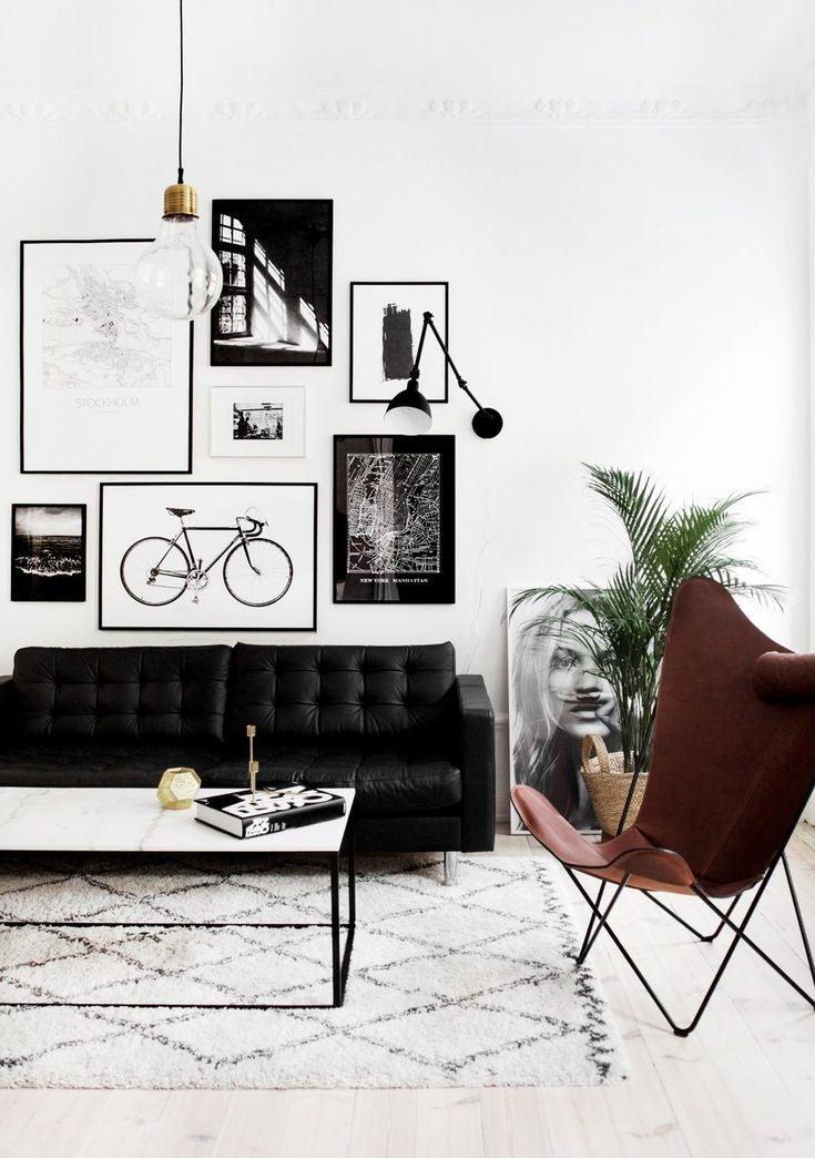 Die besten 25+ schwarzes Sofa Ideen auf Pinterest - wohnzimmer schwarz weis lila